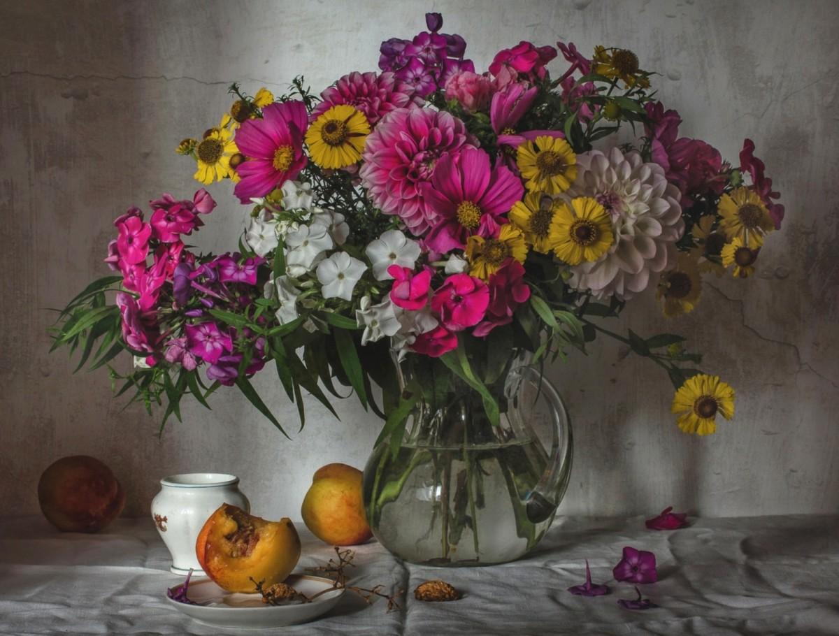 Rompecabezas Recoger rompecabezas en línea - Bouquet and peaches