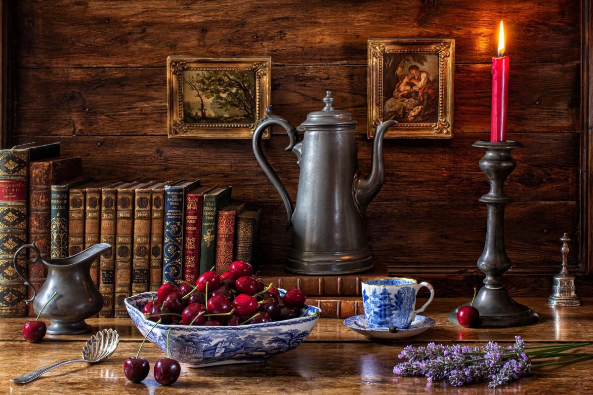 Rompecabezas Recoger rompecabezas en línea - Cherries and the coffee pot