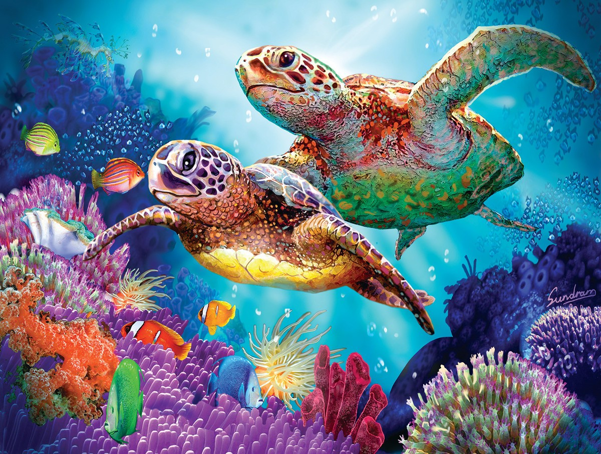 Rompecabezas Recoger rompecabezas en línea - Two turtles
