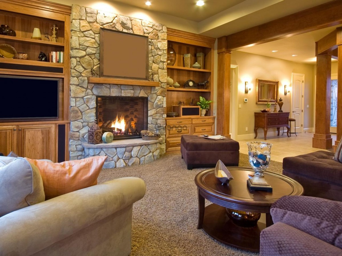 Rompecabezas Recoger rompecabezas en línea - Living room with fireplace