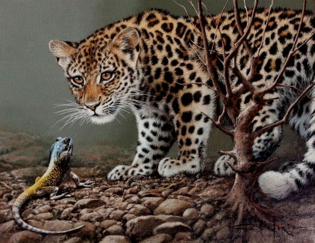 Rompecabezas Recoger rompecabezas en línea - Leopard and iguana