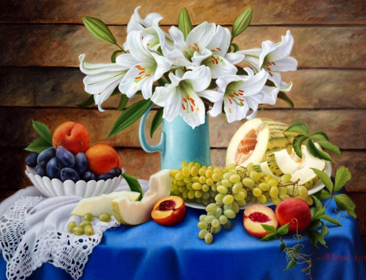 Rompecabezas Recoger rompecabezas en línea - Lilies and fruit