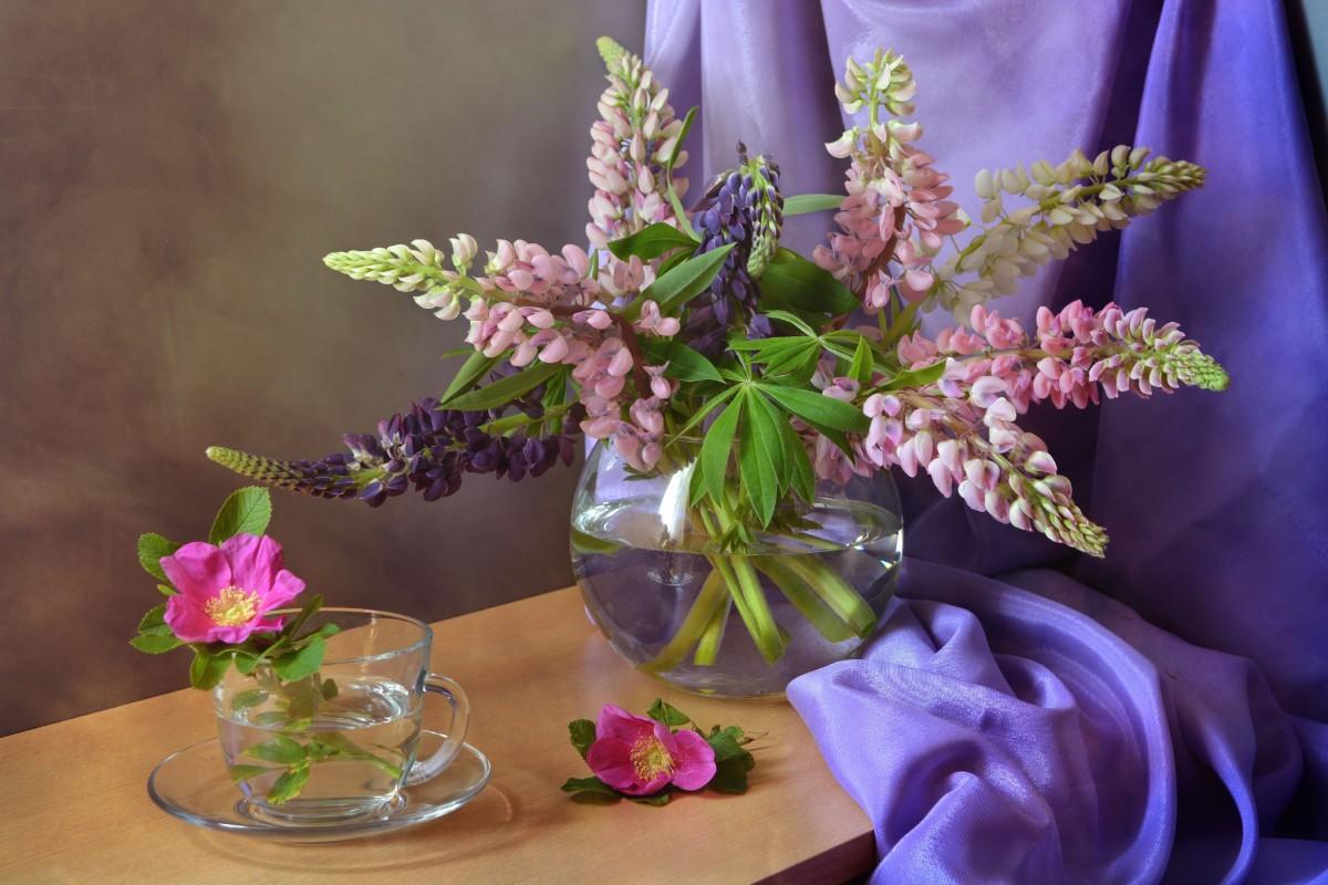 Rompecabezas Recoger rompecabezas en línea - Lupine and wild rose