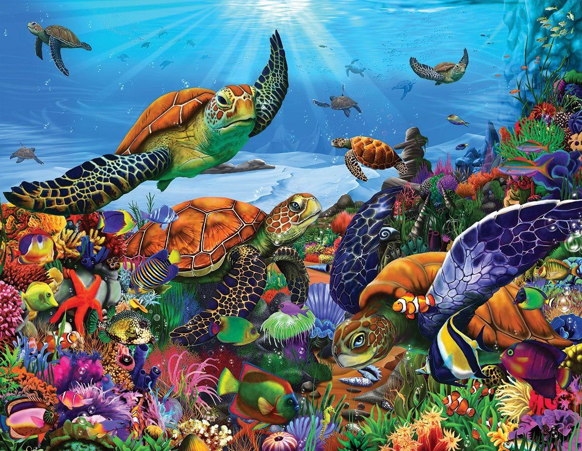 Rompecabezas Recoger rompecabezas en línea - Sea turtles