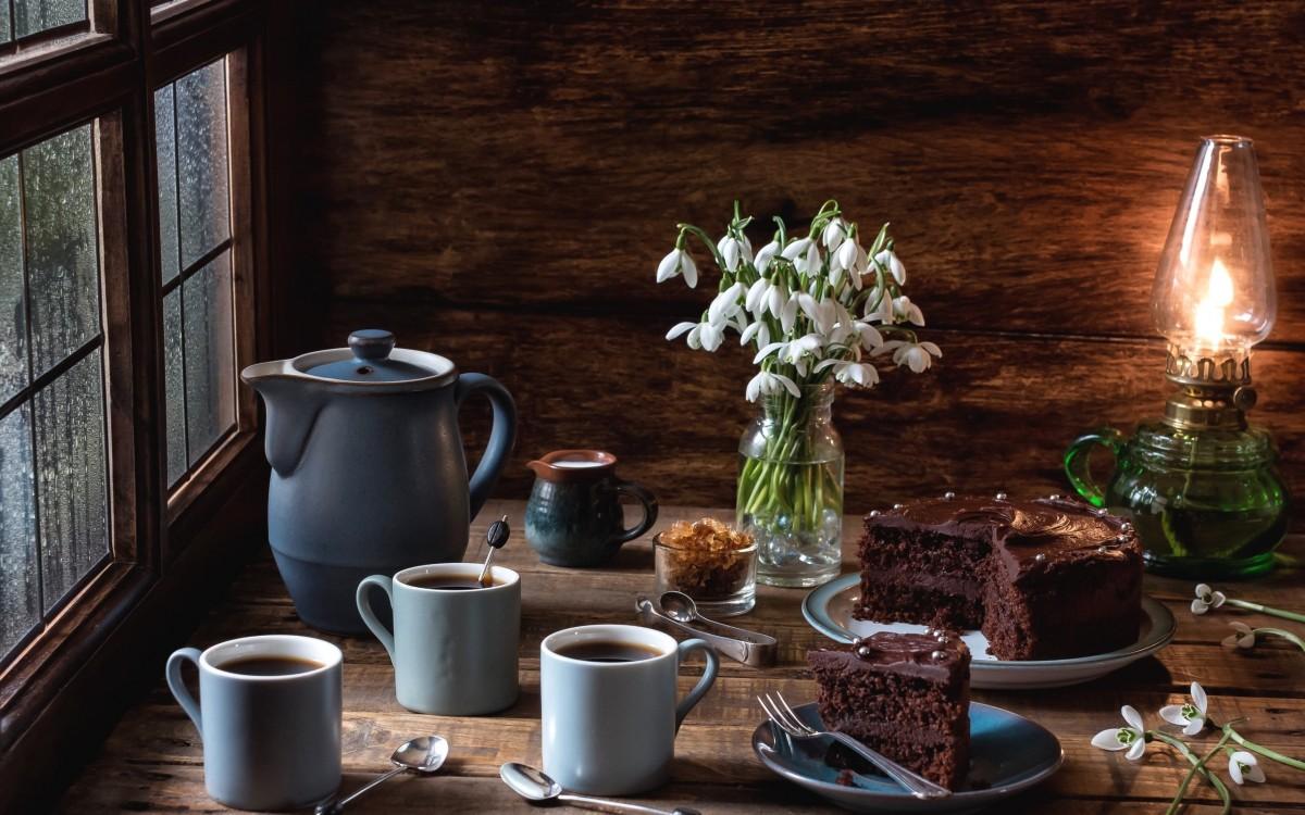 Rompecabezas Recoger rompecabezas en línea - Snowdrops and coffee