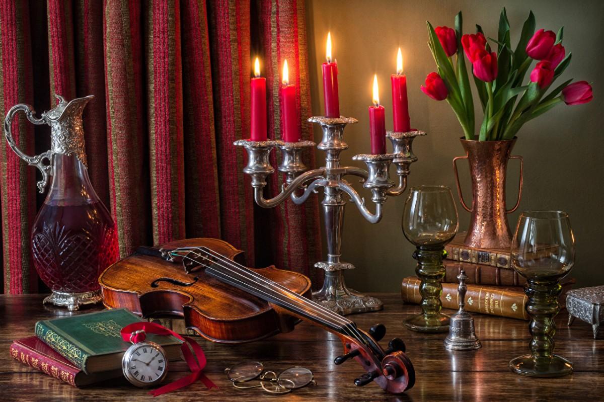 Rompecabezas Recoger rompecabezas en línea - Violin and candles