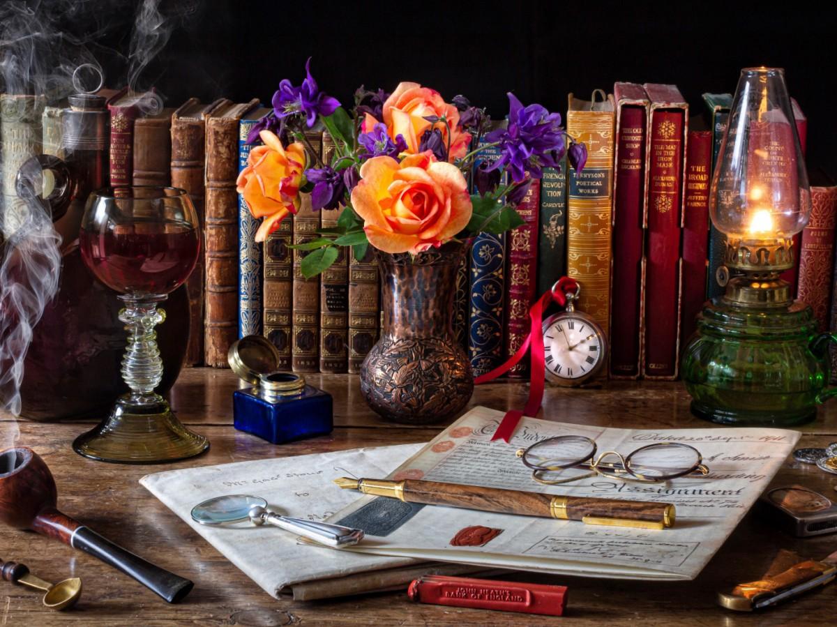 Rompecabezas Recoger rompecabezas en línea - Flowers and books