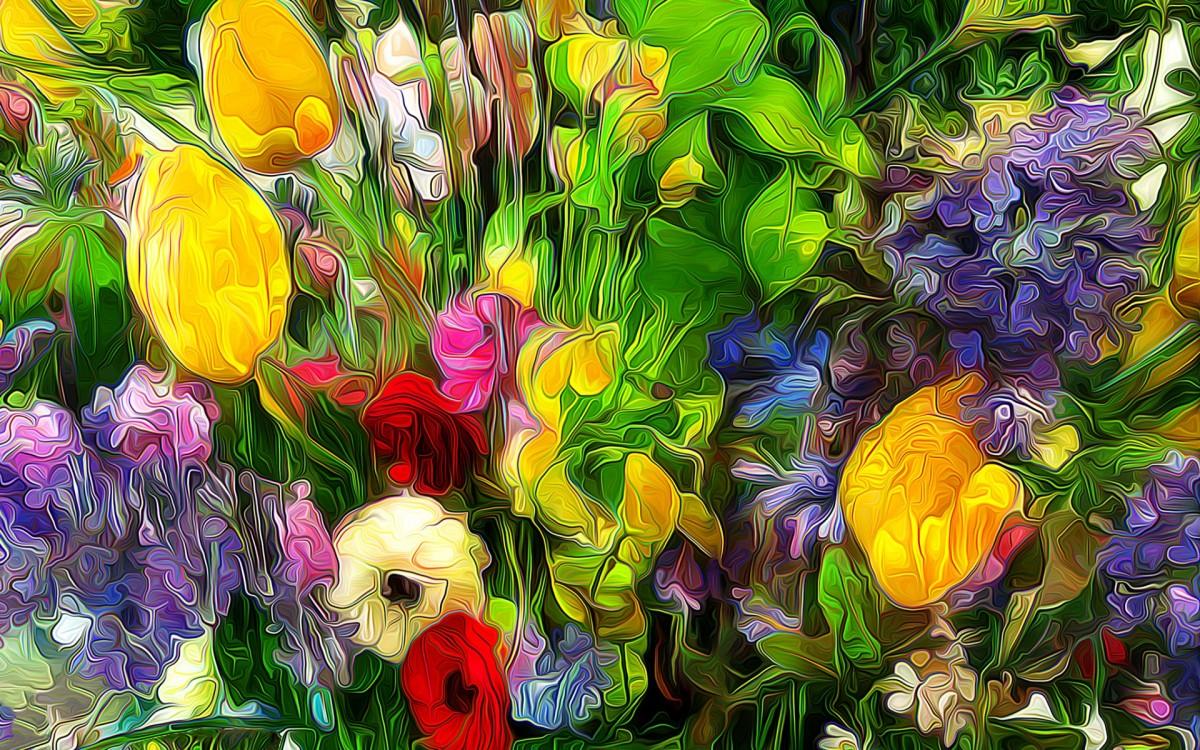 Rompecabezas Recoger rompecabezas en línea - Floral abstraction