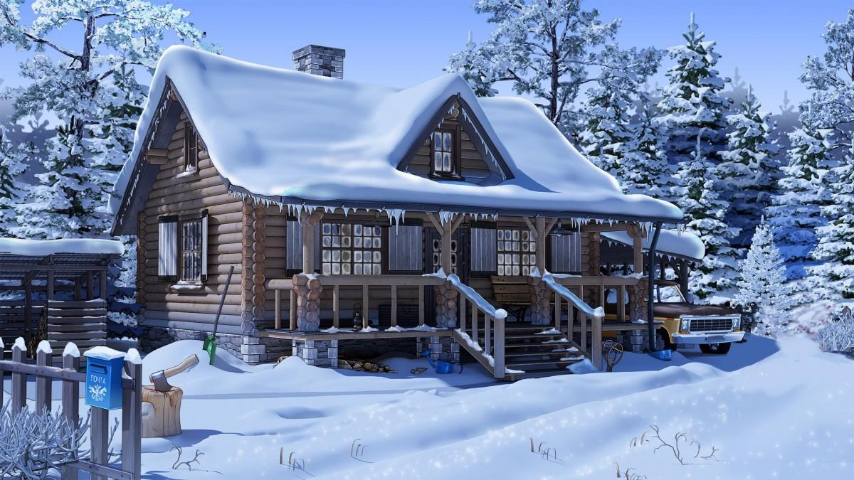 Rompecabezas Recoger rompecabezas en línea - Country house in winter