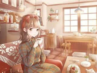 Собирать пазл Tea drinking онлайн