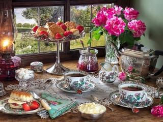 Собирать пазл Tea still life онлайн