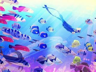 Собирать пазл Diver and fish онлайн
