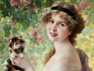 Собирать пазл Girl with cat онлайн