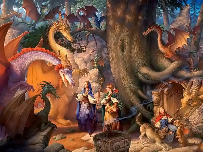 Rompecabezas Recoger rompecabezas en línea - Girls and dragons