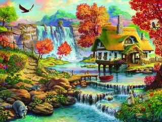 Собирать пазл House by waterfall онлайн
