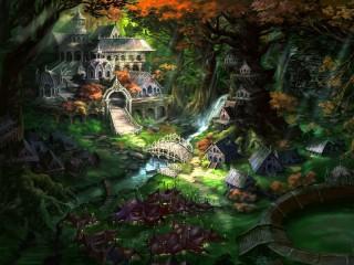 Собирать пазл Elven town онлайн