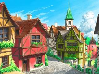 Собирать пазл European town онлайн