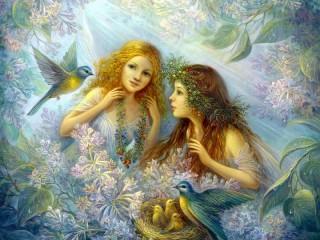 Собирать пазл Fairies and birds онлайн