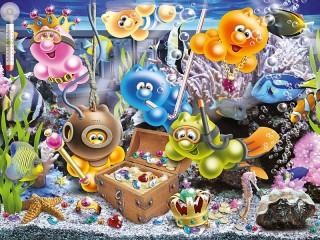Собирать пазл Life of Gelini - in aquarium онлайн