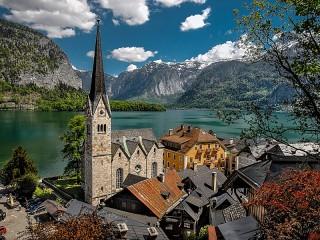 Собирать пазл Town in the Alps онлайн