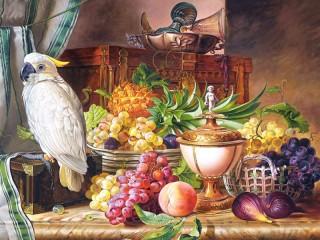 Собирать пазл Cockatoo and fruit онлайн