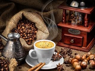 Собирать пазл Coffee still life онлайн