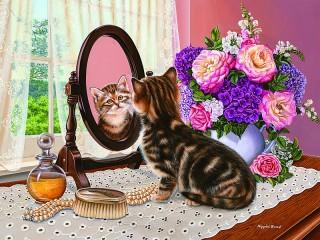 Собирать пазл Kitten and mirror онлайн