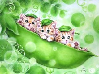 Собирать пазл Kittens and peas онлайн