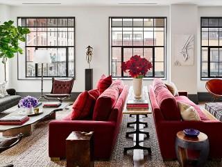 Собирать пазл Red sofas онлайн