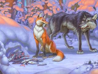 Собирать пазл Fox and Wolf онлайн