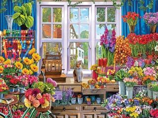 Собирать пазл Flower shop онлайн