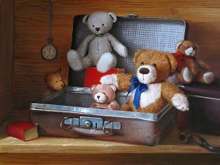 Собирать пазл Bears in a suitcase онлайн
