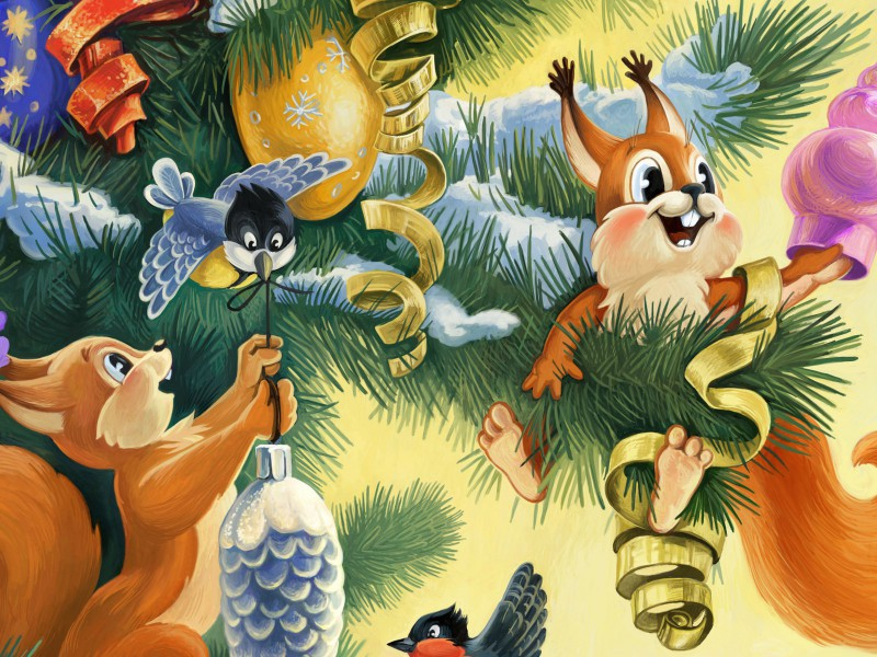 Rompecabezas Recoger rompecabezas en línea - Decorating the fir-tree