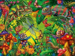 Собирать пазл Insects in the jungle онлайн
