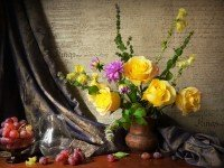 Собирать пазл Natyurmort s rozami онлайн
