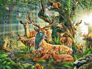 Собирать пазл Deer in the sun онлайн