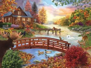 Собирать пазл Autumn evening онлайн