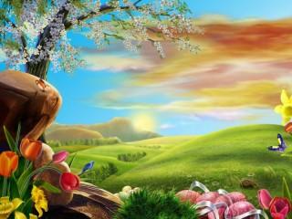 Собирать пазл Easter and field онлайн