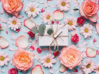 Собирать пазл Gift among the flowers онлайн