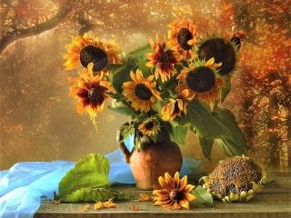 Собирать пазл Sunflower and rudbeckia онлайн