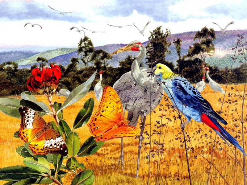 Rompecabezas Recoger rompecabezas en línea - Birds and butterflies