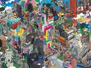 Собирать пазл Colorful city онлайн
