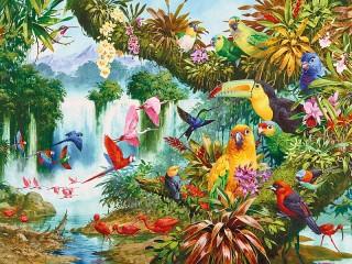 Собирать пазл Paradise birds онлайн
