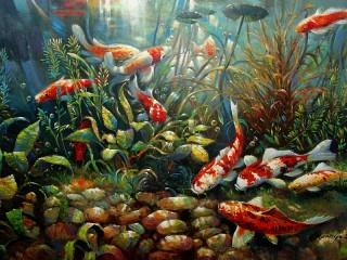 Собирать пазл The fish in the aquarium онлайн