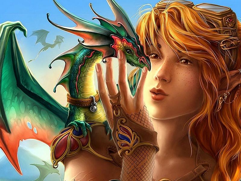 Rompecabezas Recoger rompecabezas en línea - Redhead with dragon
