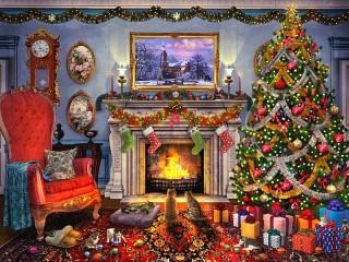 Собирать пазл Christmas together онлайн