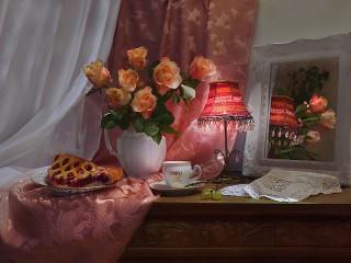 Собирать пазл Rose and lamp онлайн