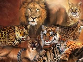 Собирать пазл Cat family онлайн