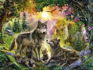 Собирать пазл The family of the wolf онлайн