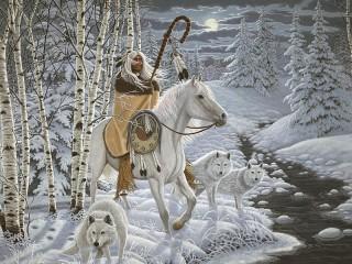 Собирать пазл The shaman on a horse онлайн